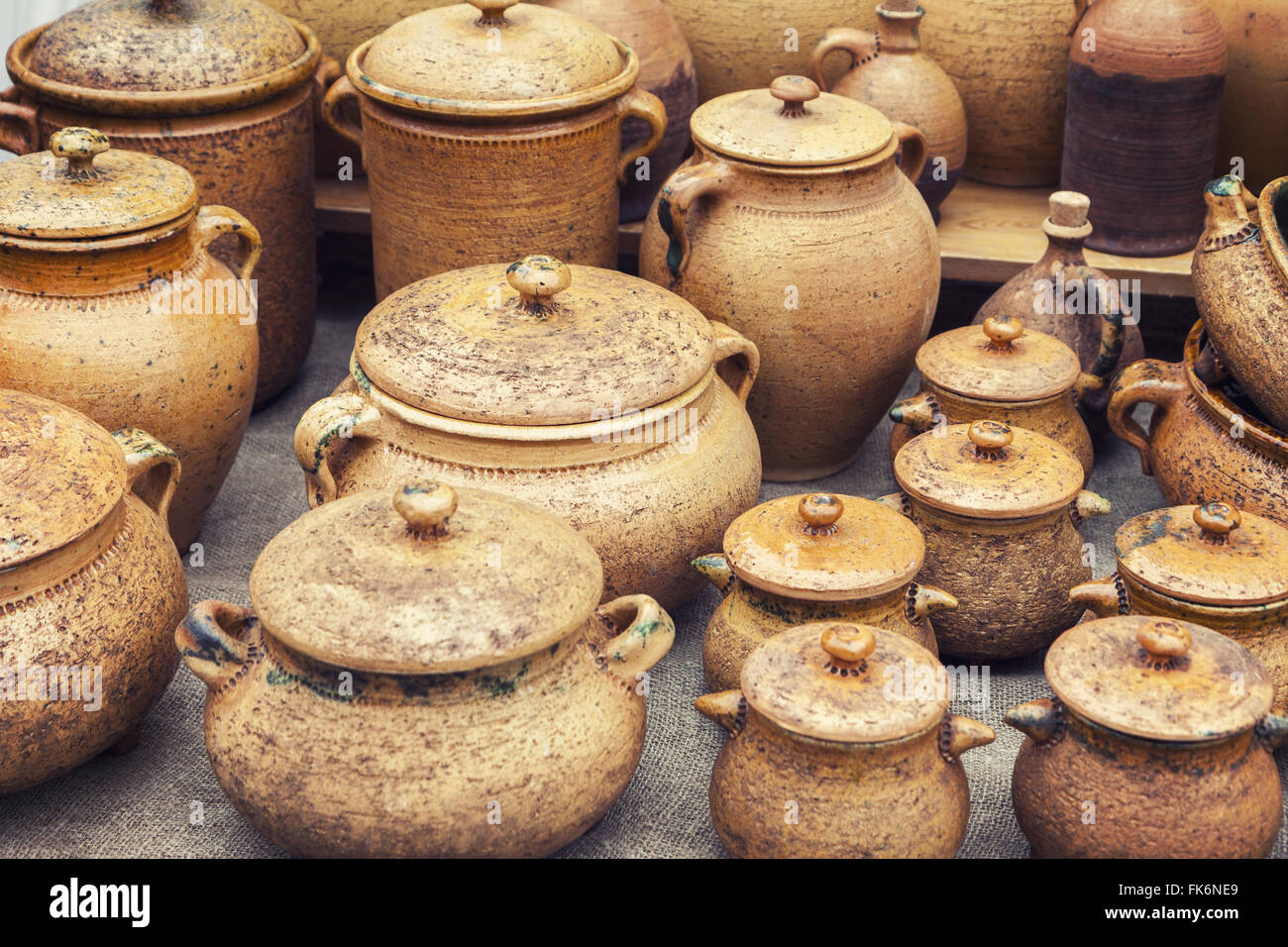 Group of traditional handmade pottery - Stock Image