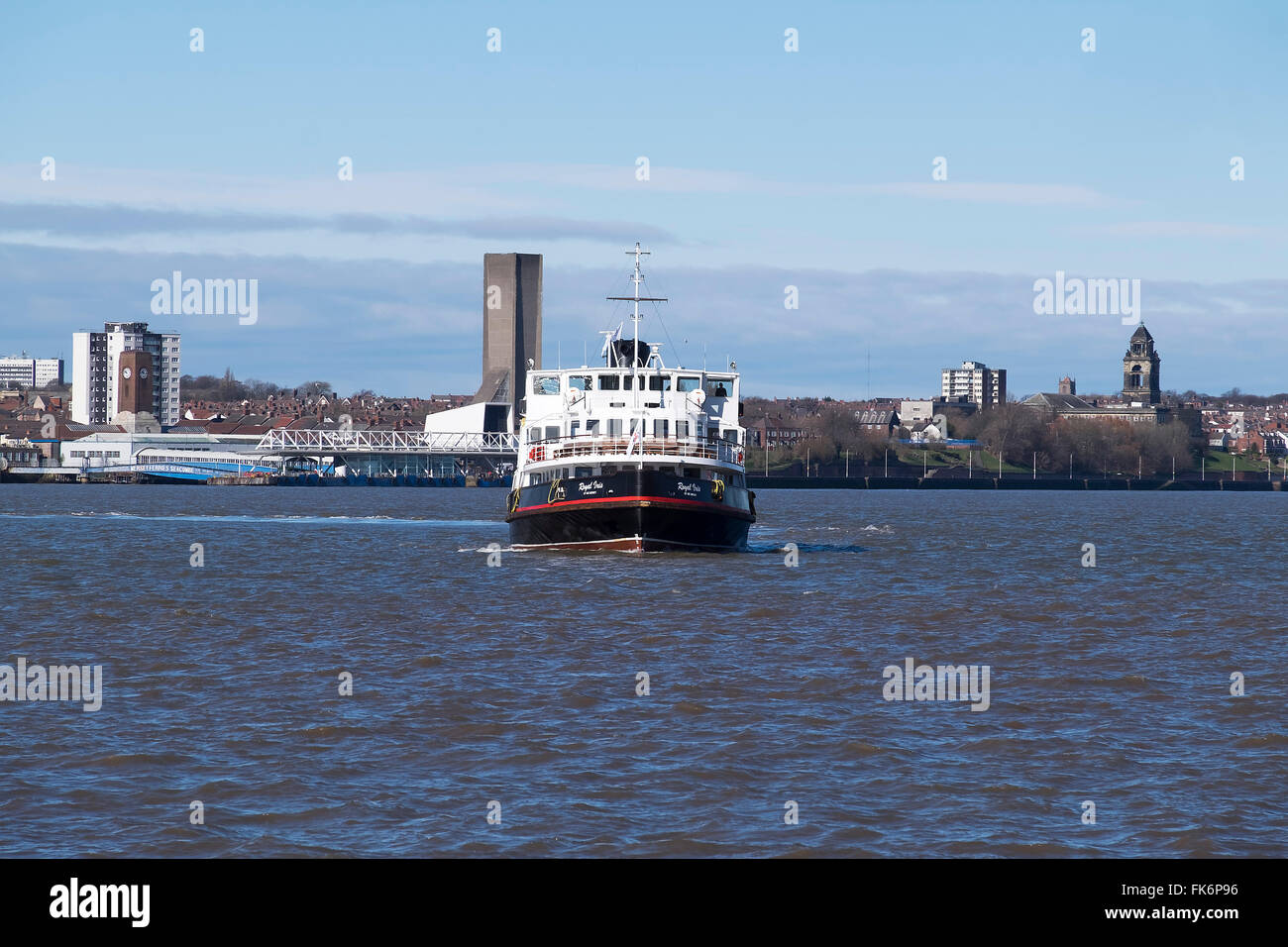 Ferry boat on the river Mersey around the Albert docks, Liverpool. - Stock Image