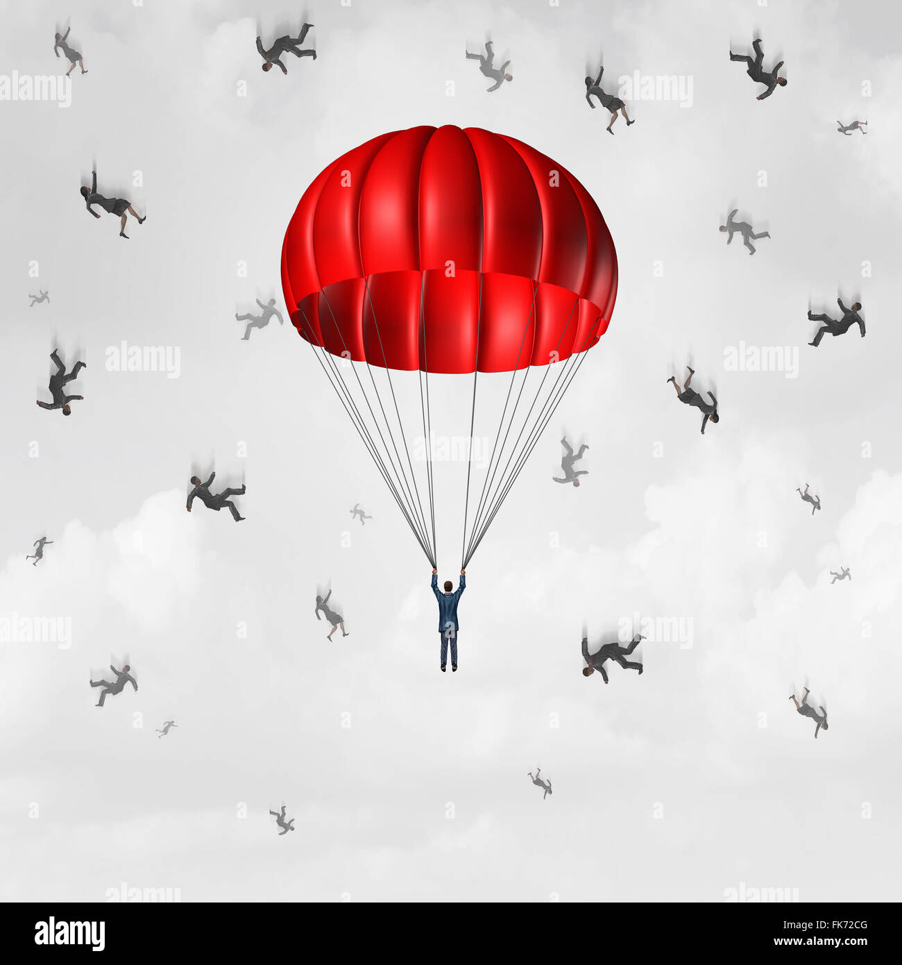 Parachute business concept as a protected and insured parachutist businessman with a group of free falling and plunging - Stock Image