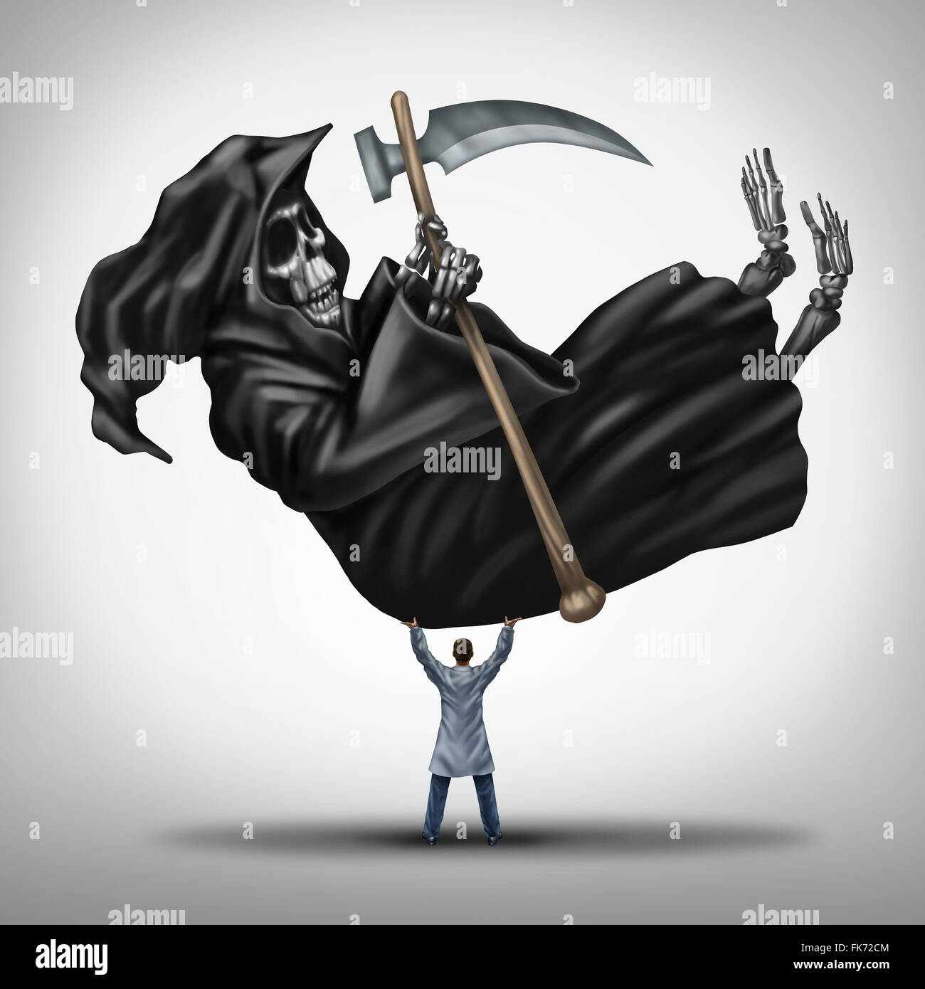 Controlling death and extending life medical concept as a powerful great doctor lifting up and dominating the grim - Stock Image