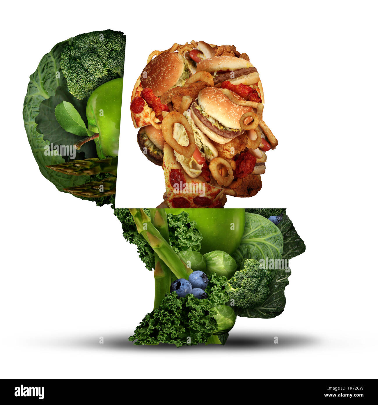 Food cravings or craving fatty greasy snacks as an open human head made of healthy fruit and vegetables with a fast - Stock Image