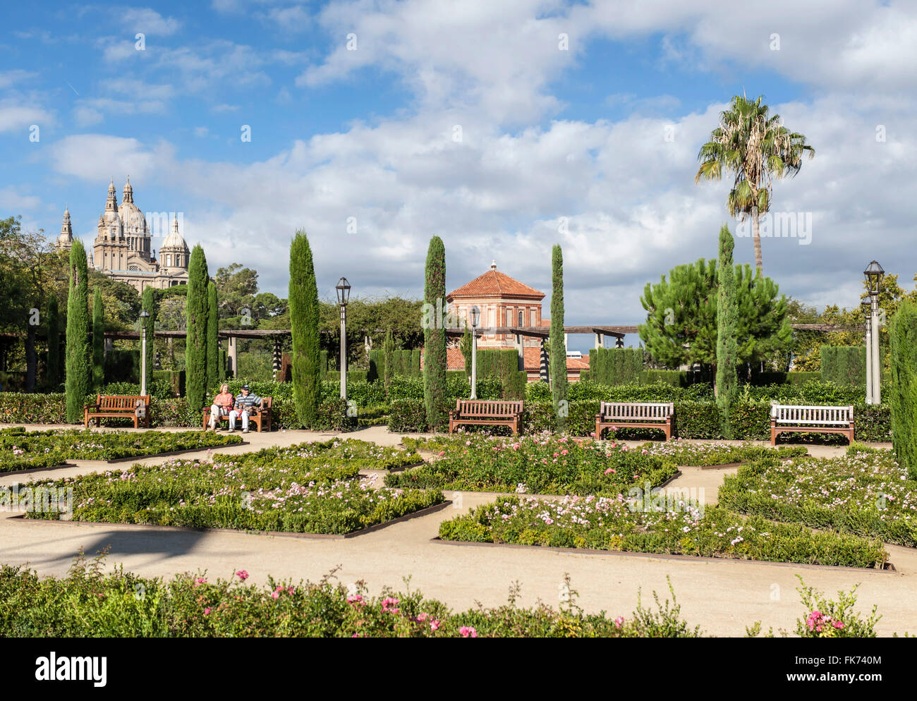 Gardens Teatre Grec, designed by Jean-Claude-Nicolas Forestier , Montjuic, Barcelona. - Stock Image