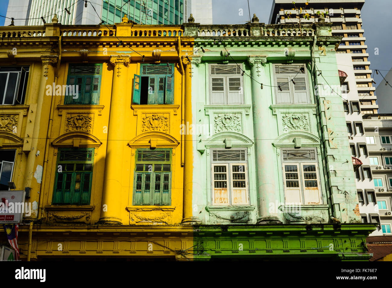 Three-storey shophouses with Neo-Classical architecture in Lebuh Ampang, Kuala Lumpur - Stock Image