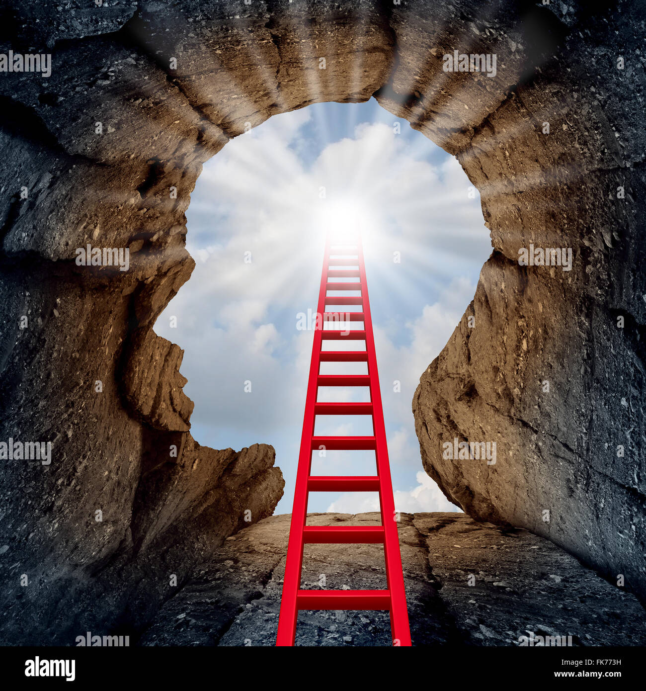 Concept of open mind as a a deep mountain cliff shaped as a human head with a ladder leading to the outside towards - Stock Image