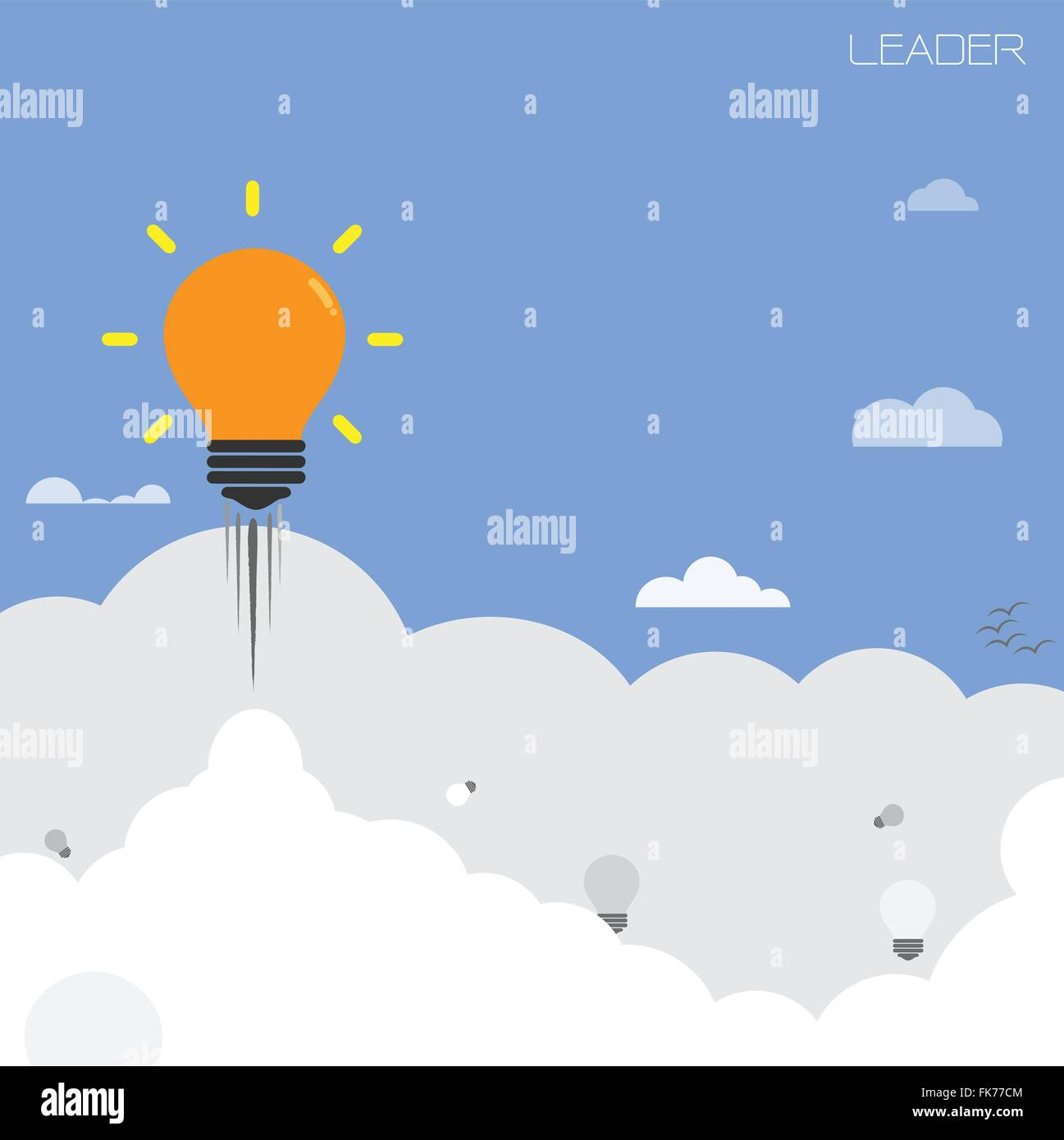 Creative Light Bulb With Blue Sky Background Design For Poster