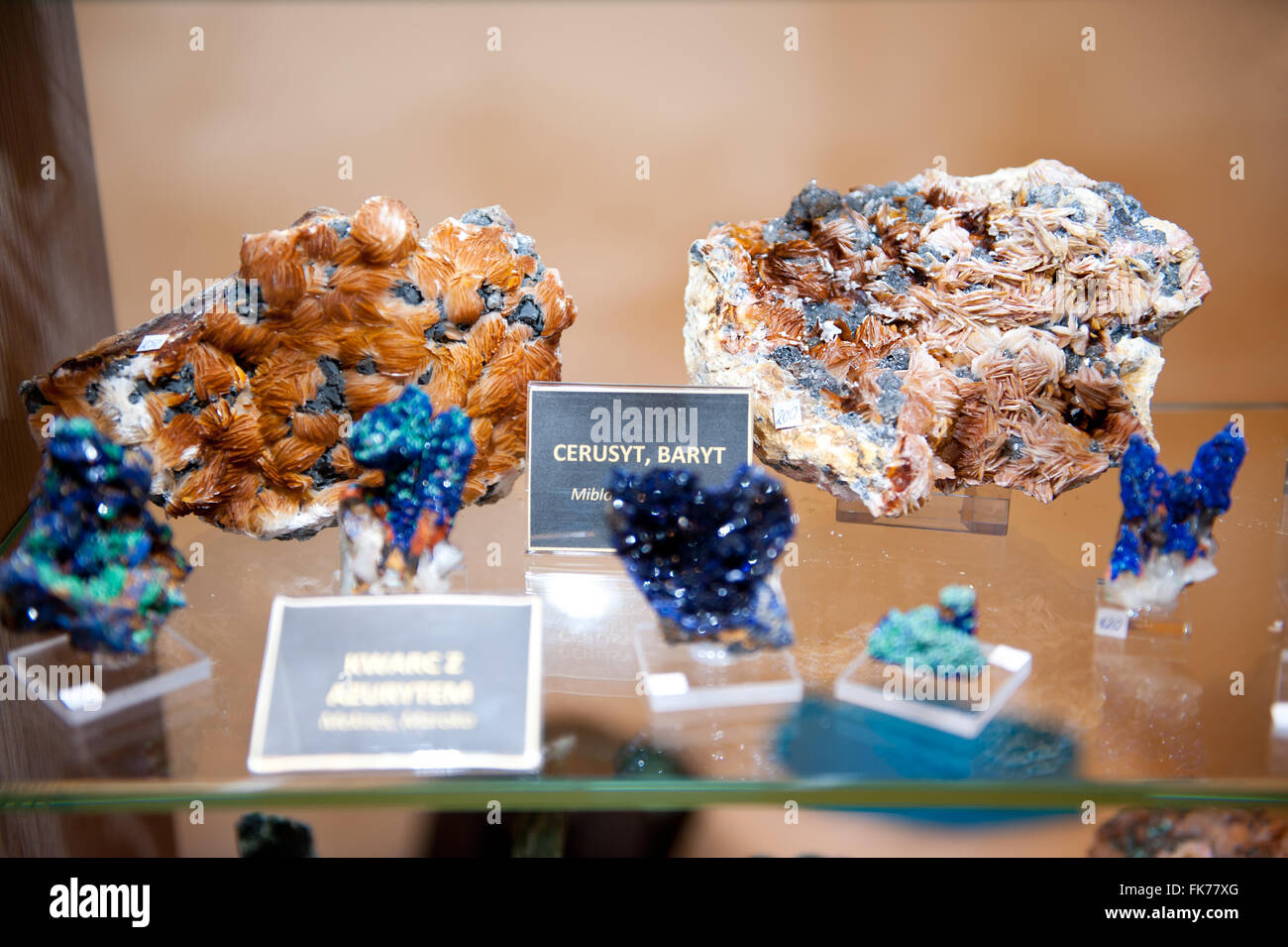 Cerussite and baryte mineral gemstones, pieces assortment at Warsaw Mineral Expo 2016, 5th March, VI edition event - Stock Image