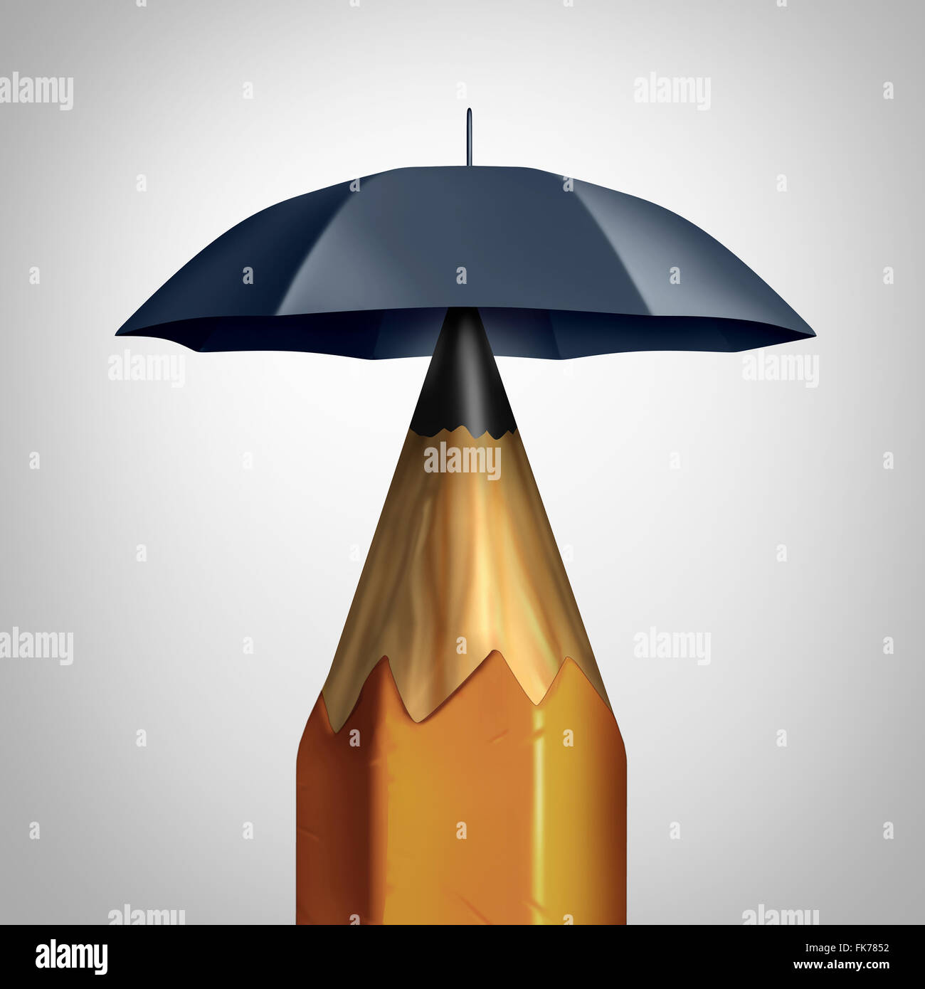 Potential security conceprt or education safety symbol or freedom of speech icon as a pencil with an umbrella protecting - Stock Image
