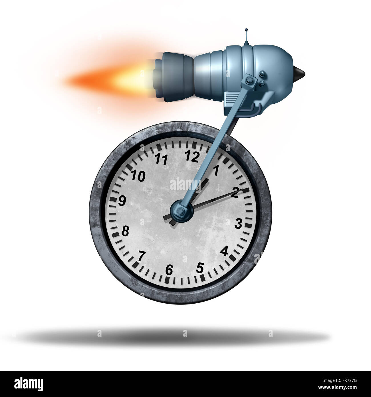 Fast time business deadline concept as a clock being transported by a rocket engine as a speed metaphor for increased - Stock Image