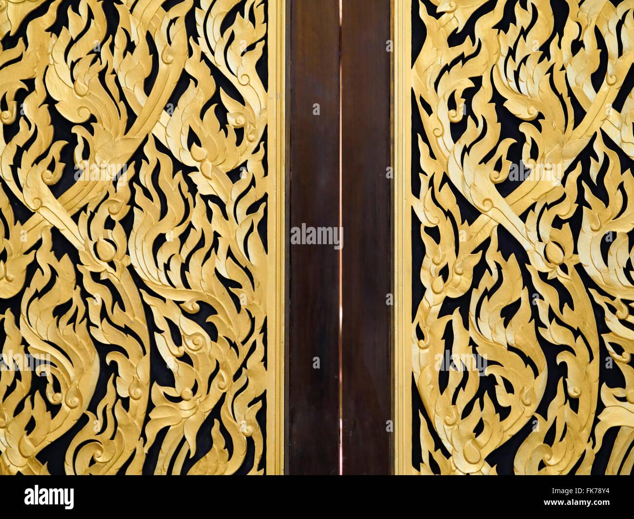 Thai painting on the door of meeting room (rented room) - Stock Image