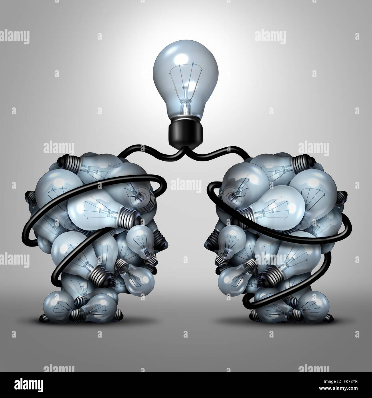 Creative unity partnership light bulb as two groups of lightbulb objects shaped as a human head joining together - Stock Image