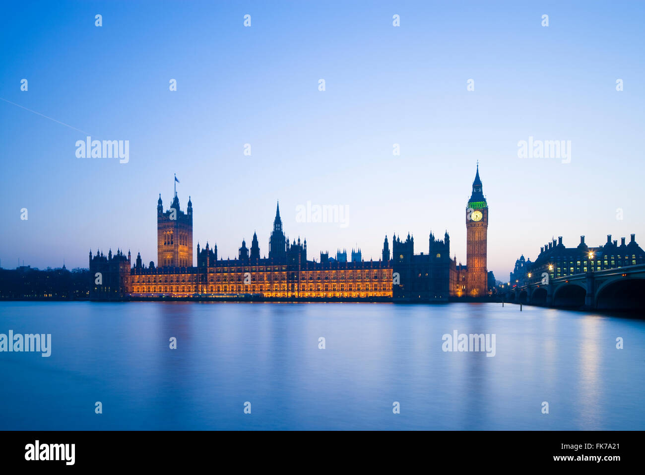 Houses of Parliament Westminster London England UK in evening light - Stock Image