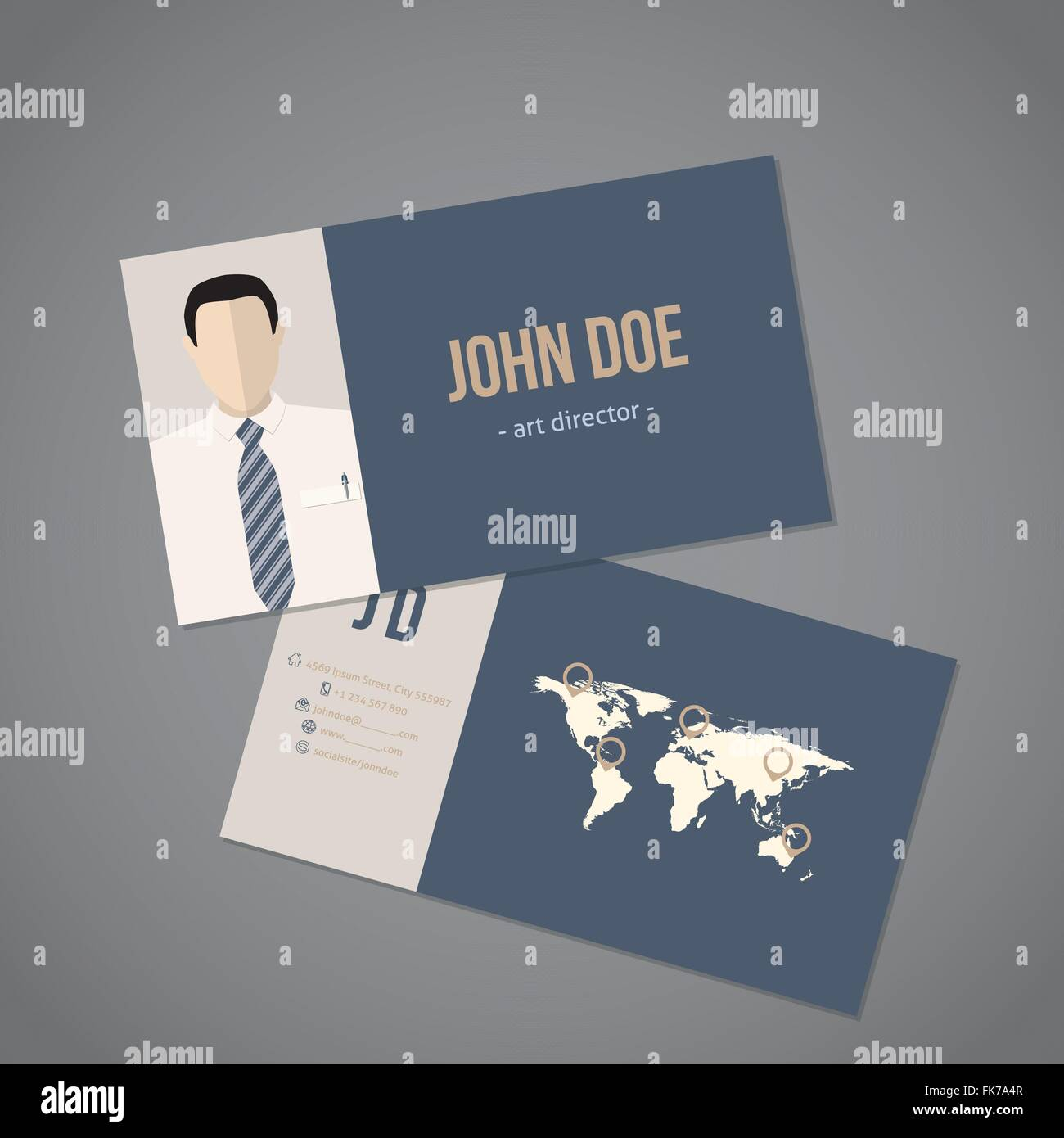 Modern business card with world map design Stock Vector Art ...