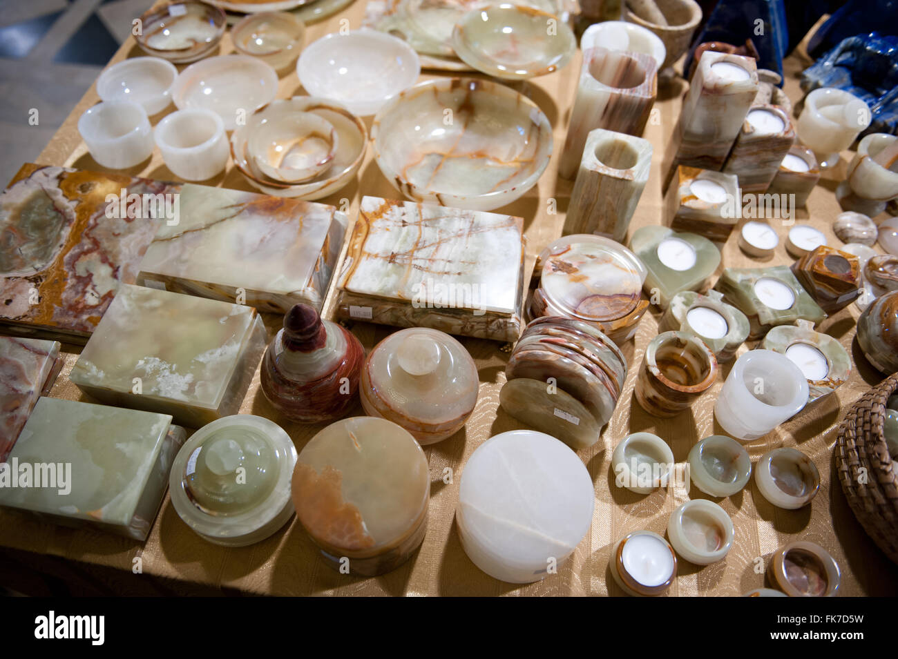 Crystal gemstone objects assortment at Warsaw Mineral Expo 2016, 5th March, VI edition event in the Palace PKiN, - Stock Image