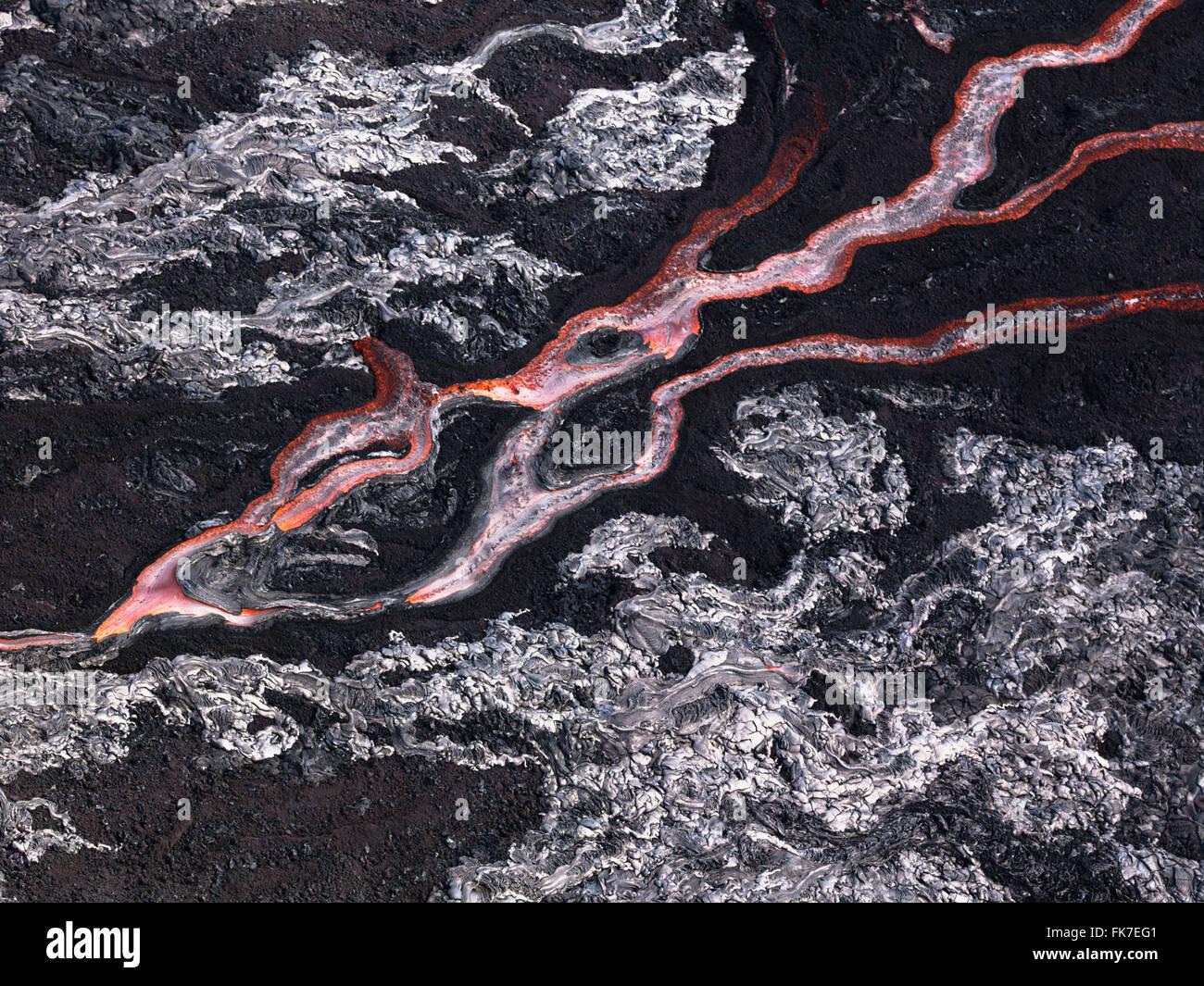 Lava flow at Hawaii Volcano National Park - Stock Image