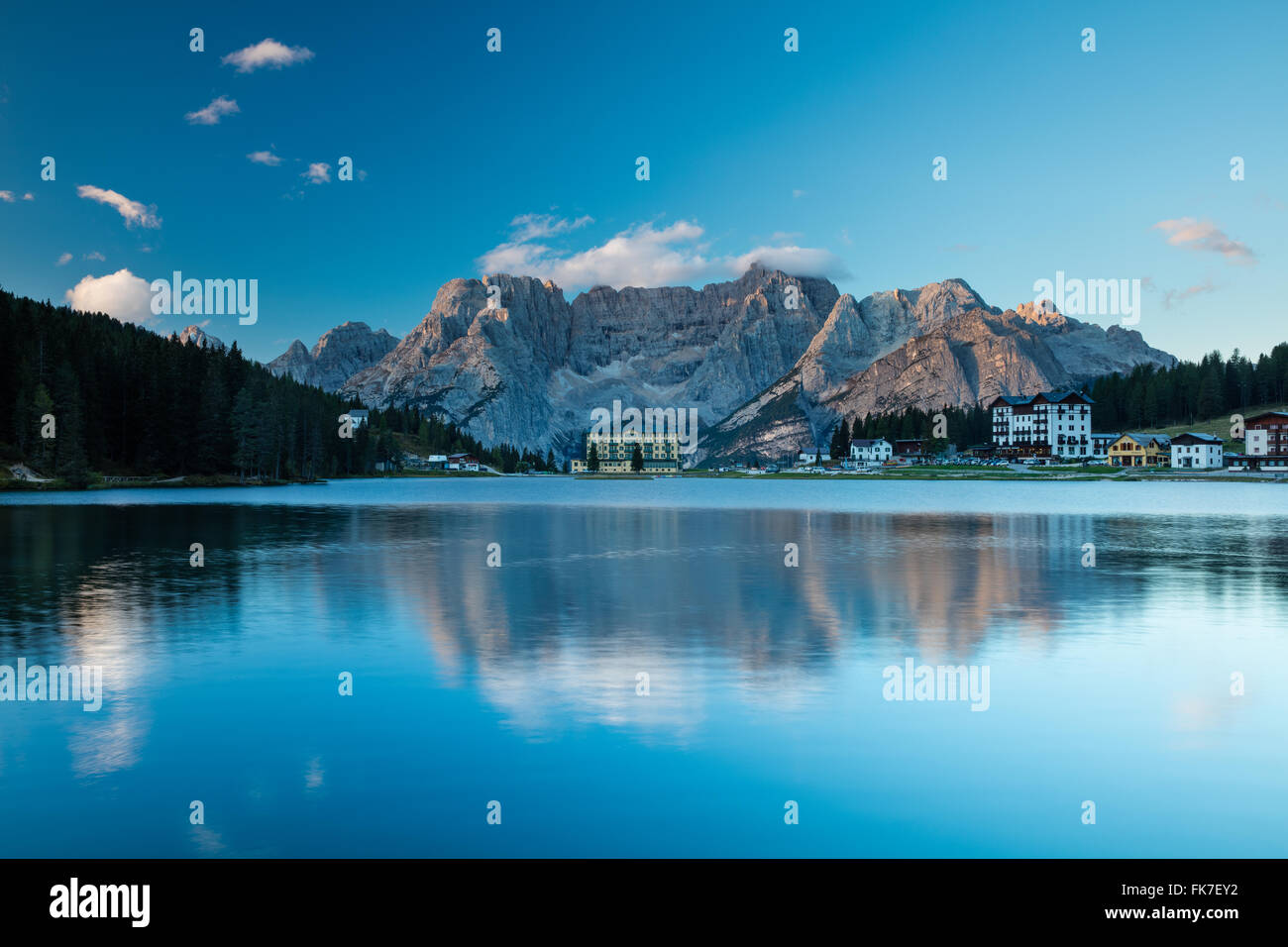 Lago Misurina at dawn, Dolomite Mountains, Belluno Province, Veneto, Italy - Stock Image
