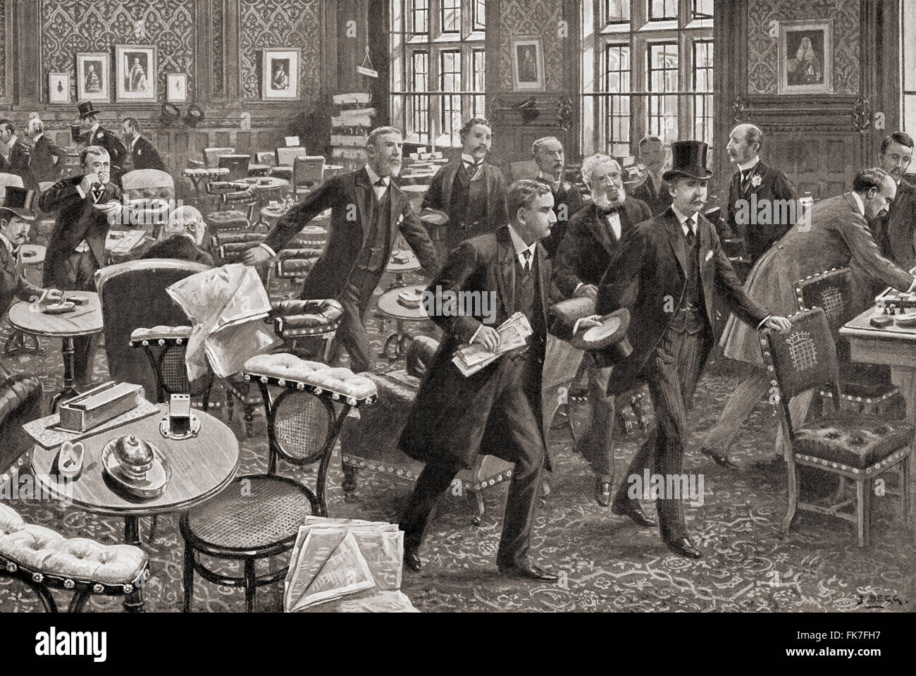 Members of Parliament, in London, England, leaving the smoking room when the division bell is rung.   The bell signals - Stock Image