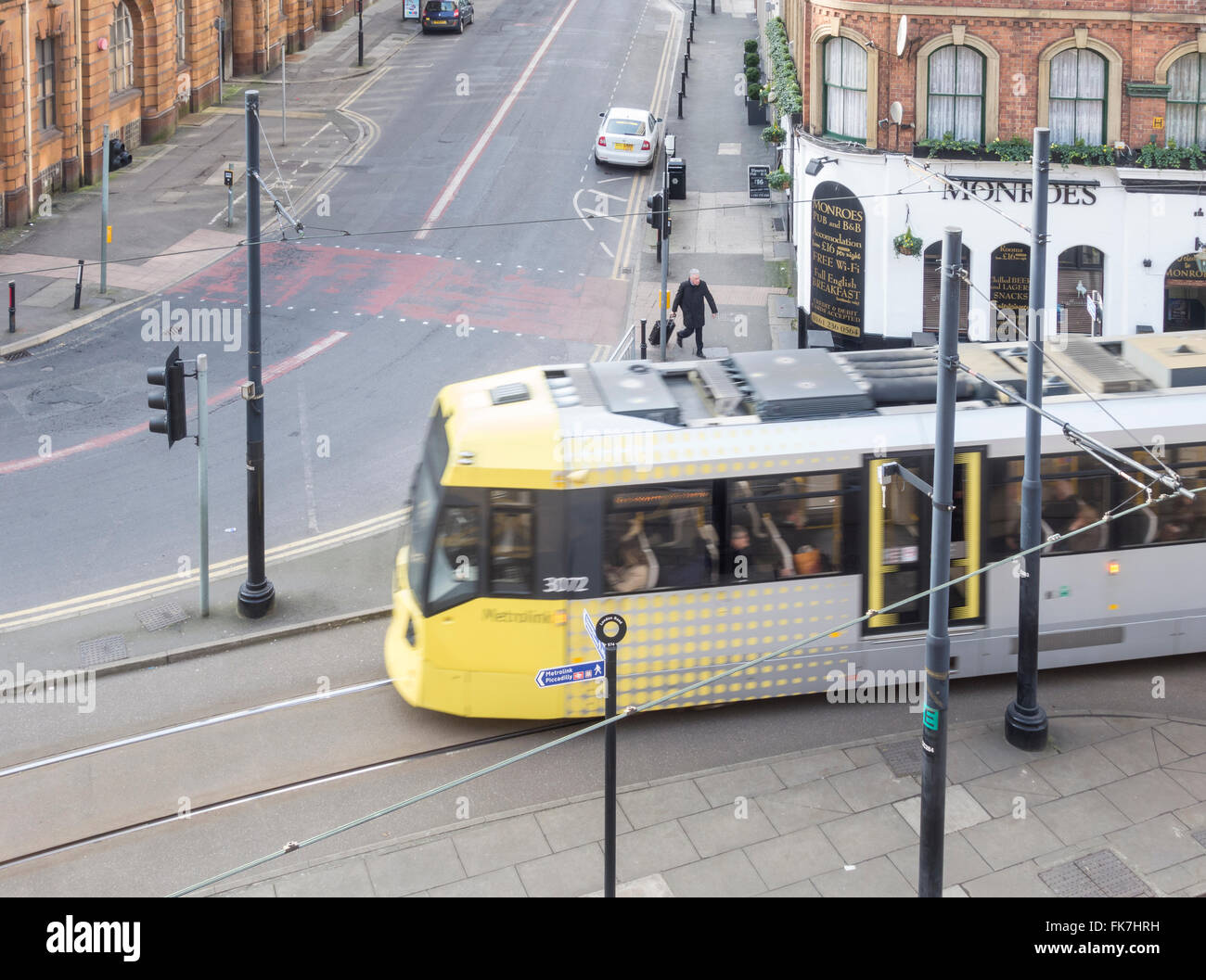 Tram near Piccadilly station in Manchester, England. United Kingdom - Stock Image