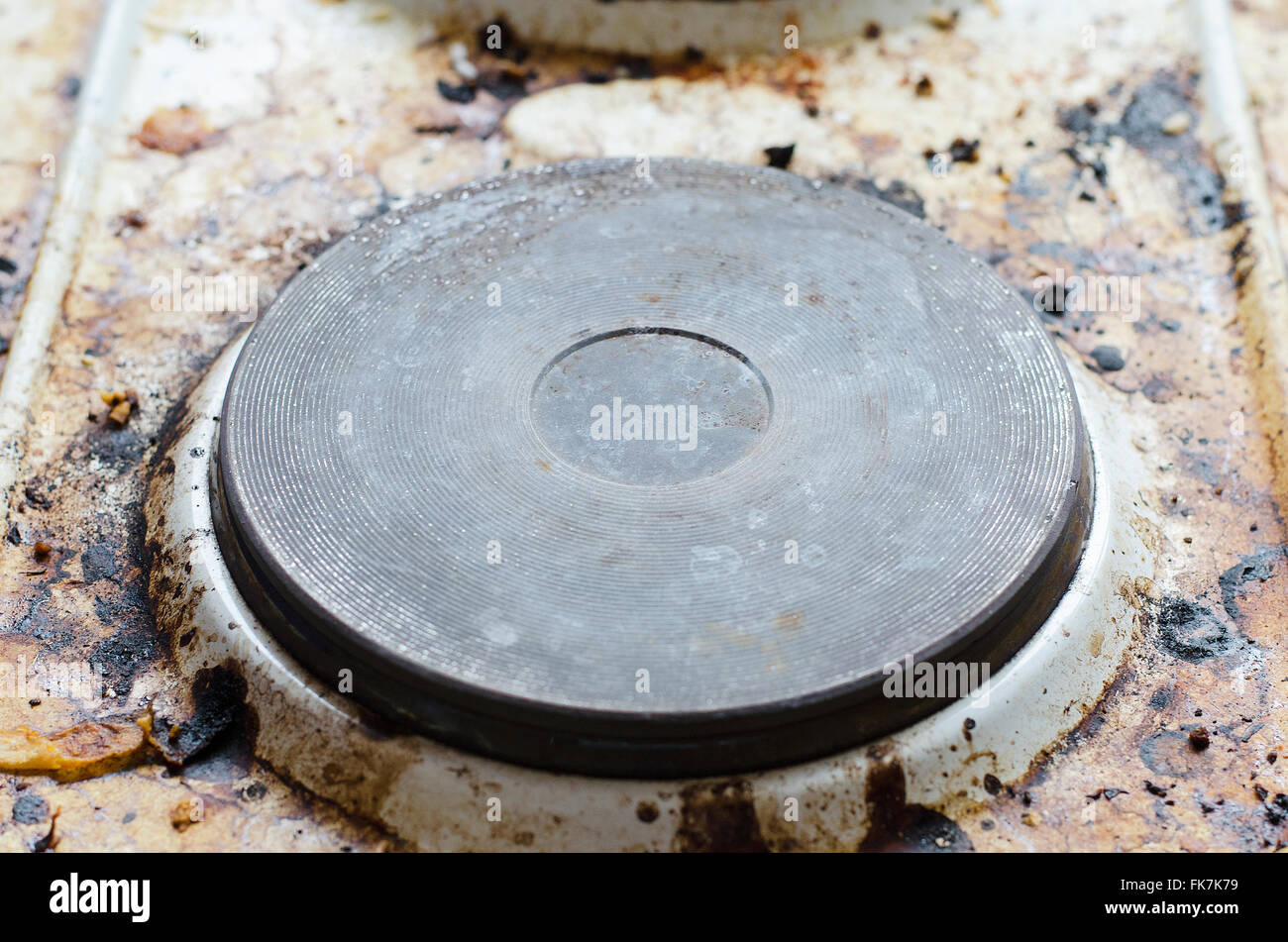 Very dirty hot plate in the kitchen Stock Photo: 97899069 - Alamy