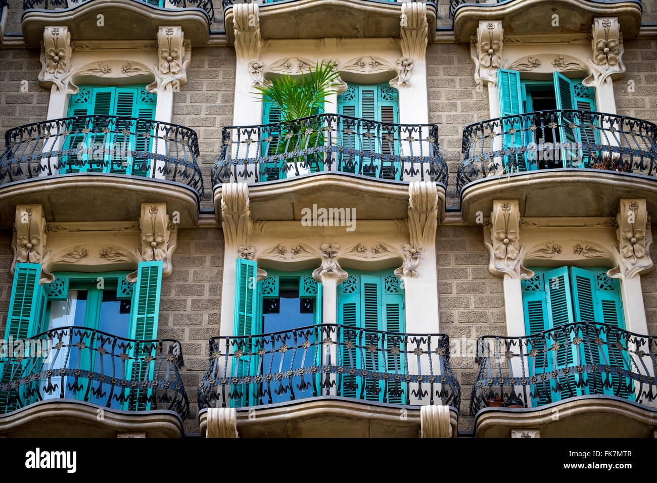 Casa Santurce, also Casa Pau Ubarri by architect Miquel Madorell i Rius, at Eixample district in Barcelona, Catalonia, - Stock Image