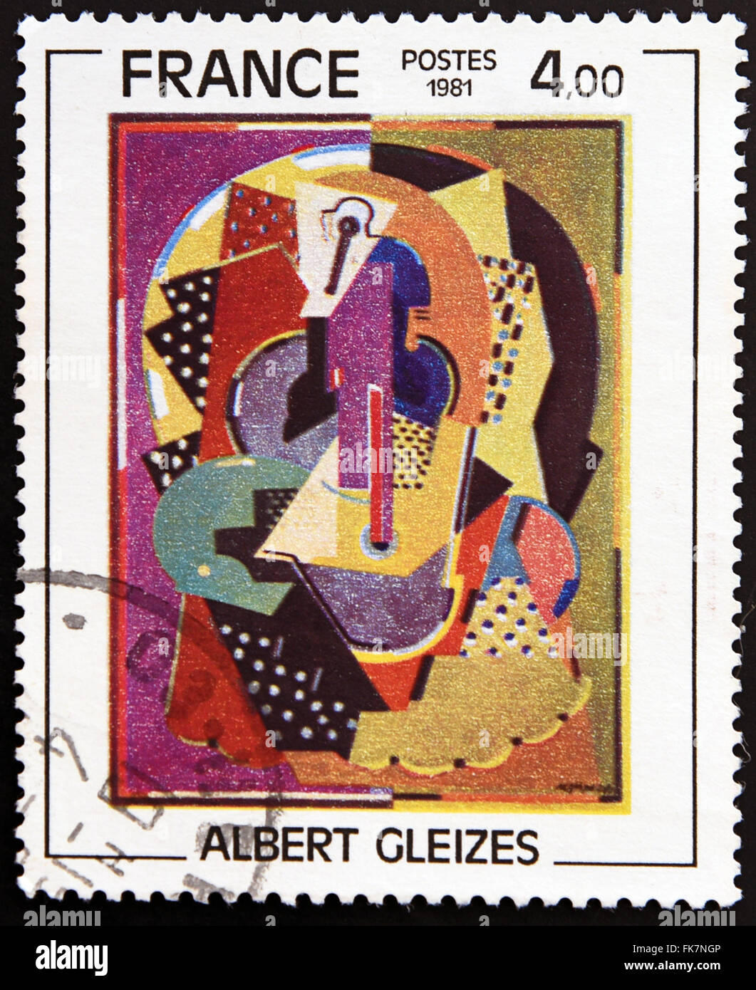 FRANCE - CIRCA 1981: A stamp printed in France shows  «Composition 1920-23» by Albert Gleizes, circa 1981 - Stock Image