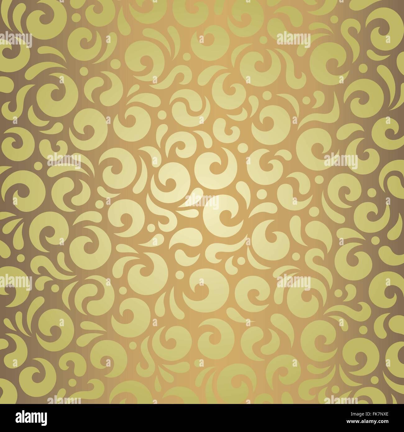 Decorative green & brown retro vintage wallpaper design Stock Vector ...