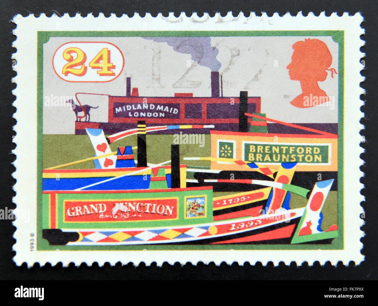 UNITED KINGDOM - 1993: A stamp printed in Great Britain dedicated to Inland Waterways, shows Midland Maid and other - Stock Image