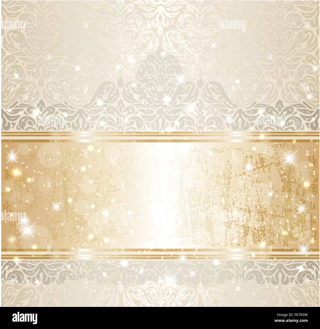Bright Shiny Luxury Wedding Vintage Invitation Pattern Background With Gold And Silver