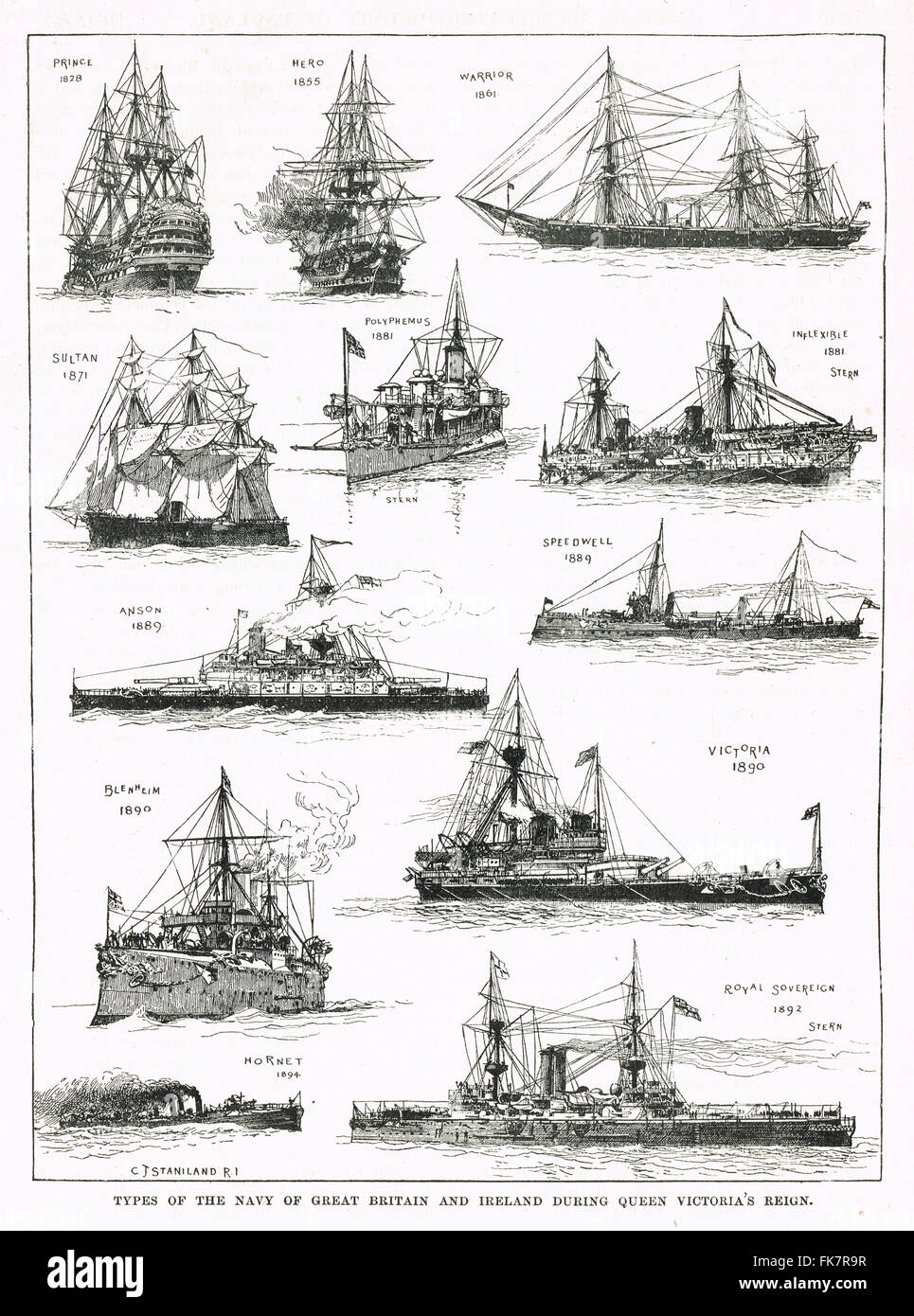 Types of Navy Ships in use during the reign of Queen Victoria - Stock Image