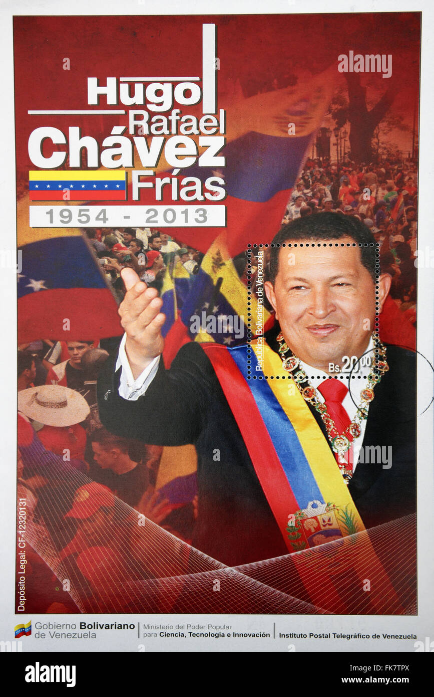 BOLIVARIAN REPUBLIC OF VENEZUELA - CIRCA 2014: A stamp printed in Venezuela shows Hugo Rafael Chavez (1954-2013) - Stock Image