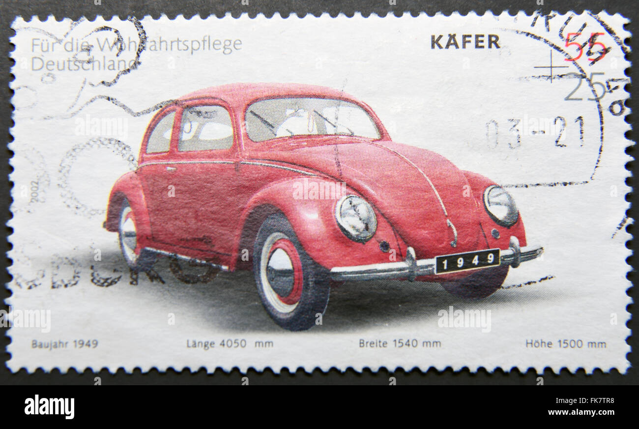 GERMANY - CIRCA 2002: A stamp printed in Germany shows a Volkswagen Kafer, circa 2002 - Stock Image