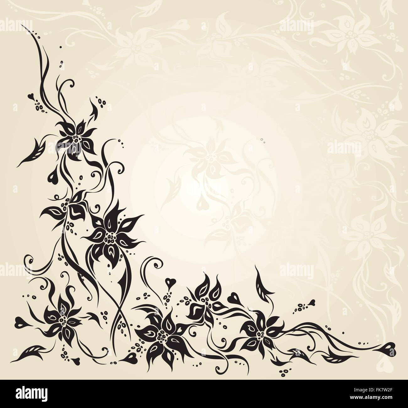 Ecru Vintage Floral Decorative Invitation Wedding Background