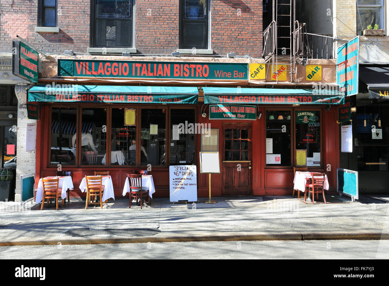 Italian Restaurant Greenwich Village New York City Stock