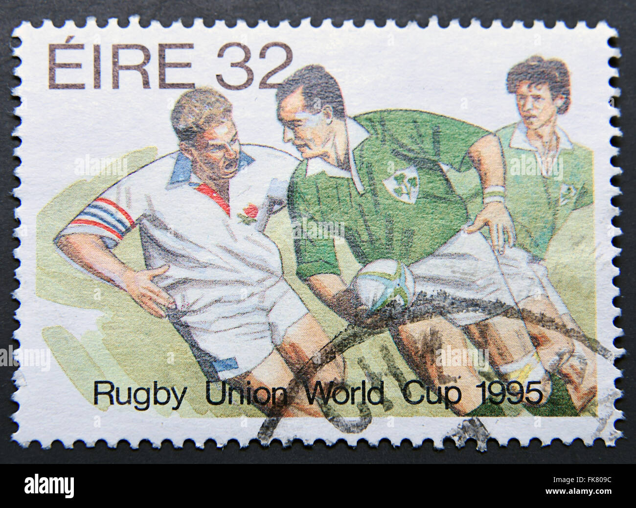 IRELAND - CIRCA 1995: A postage stamp shows Rugby Union World Cup 1995 - Stock Image