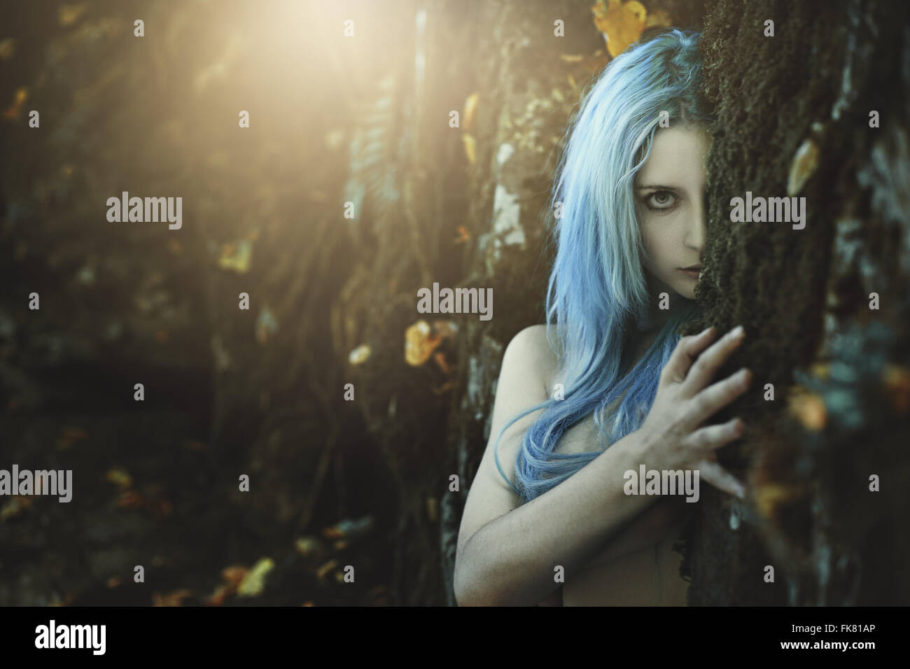 Dark child of the forest . Fantasy and myth - Stock Image