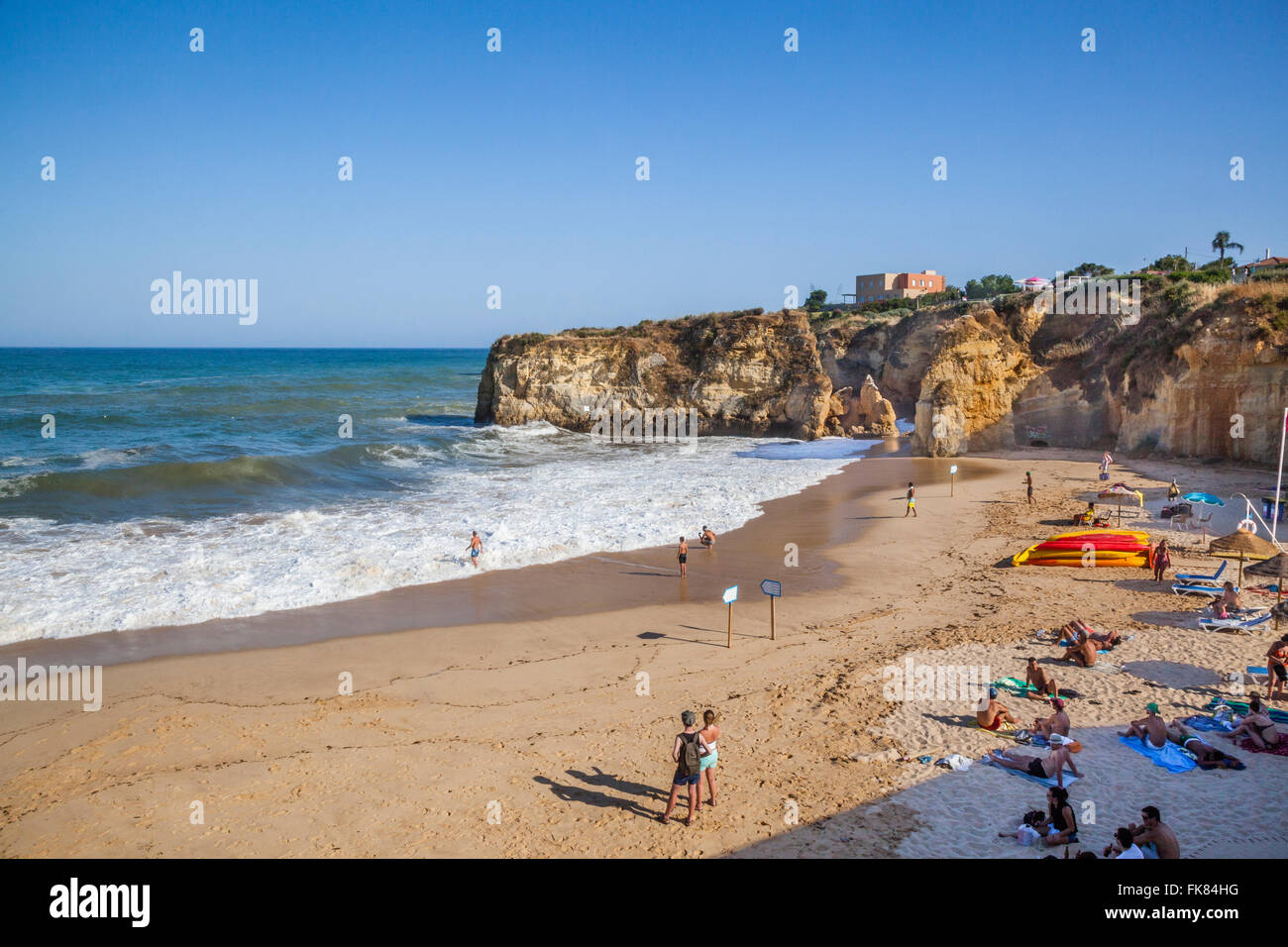 Portugal, Algarve, Lagos, view of Praia da Batata, Batata Beach - Stock Image