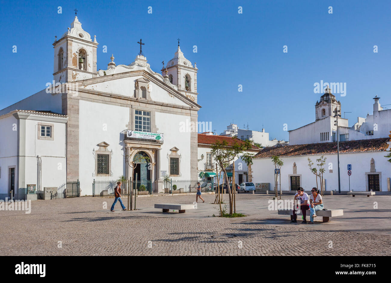 Portugal, Algarve, Lagos, Church of Santa Maria at Infante Dom Henrique Square in the historic center of Lago - Stock Image
