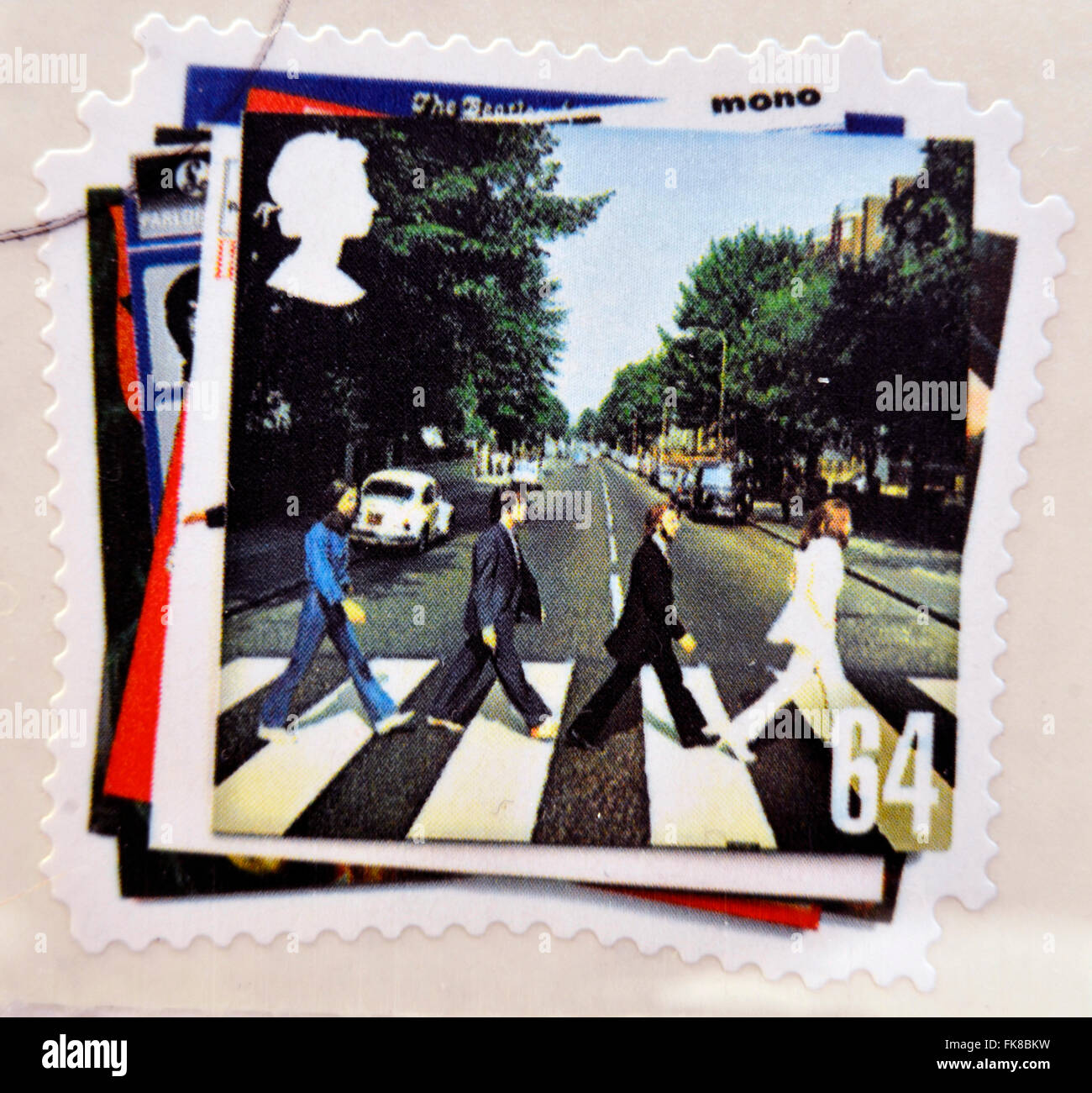 UNITED KINGDOM - CIRCA 2007: a postage stamp printed in Great Britain showing an image of The Beatles, Abbey Road - Stock Image