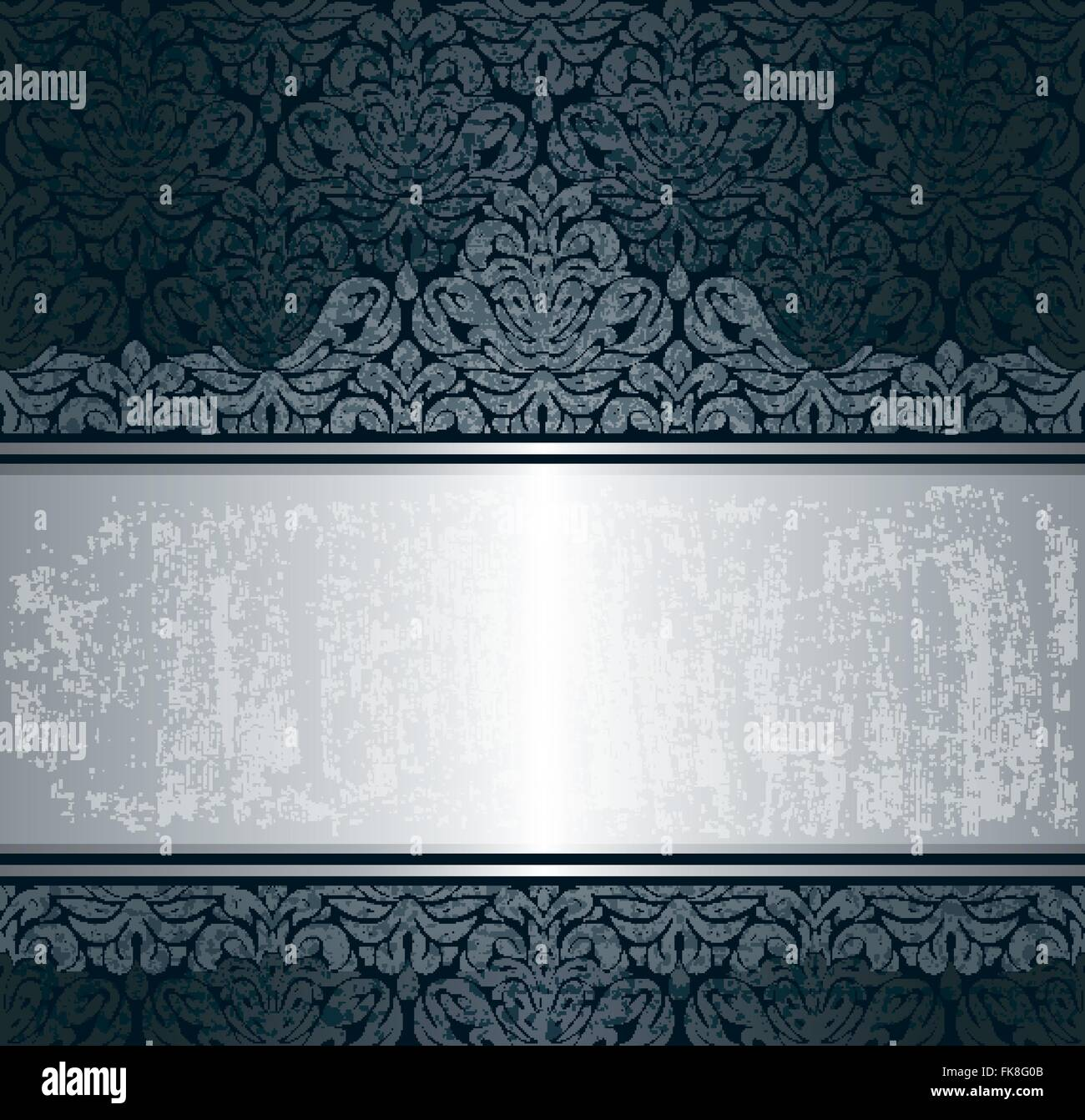 Black Silver Luxury Vintage Wallpaper Background Retro Pattern