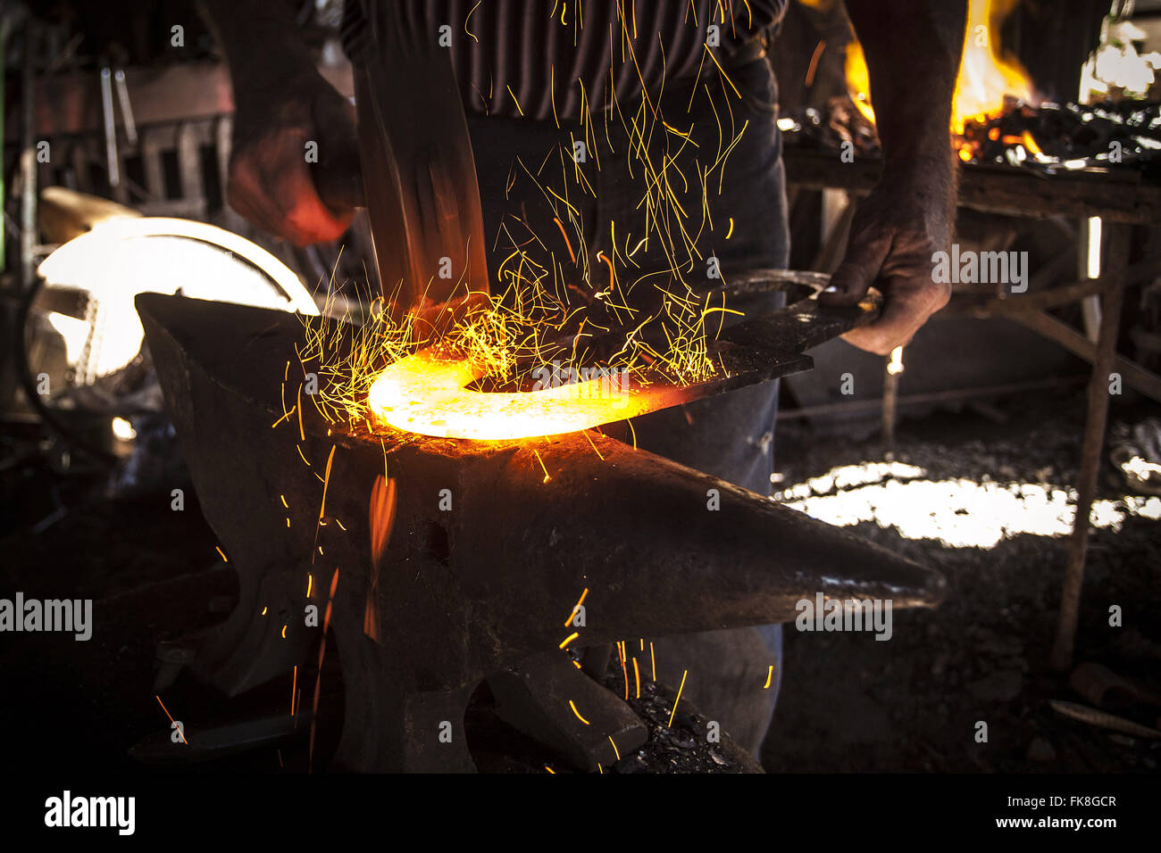 Blacksmith in his workshop in Tupinamba district - Stock Image