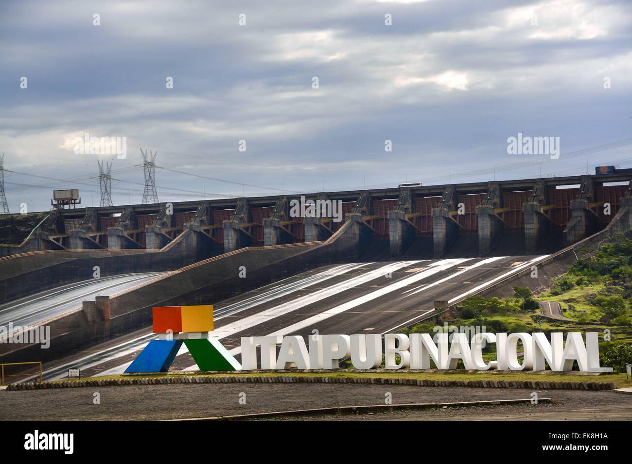 Spillway Itaipu dam - Itaipu - Integration between Brazil and Paraguay - Stock Image
