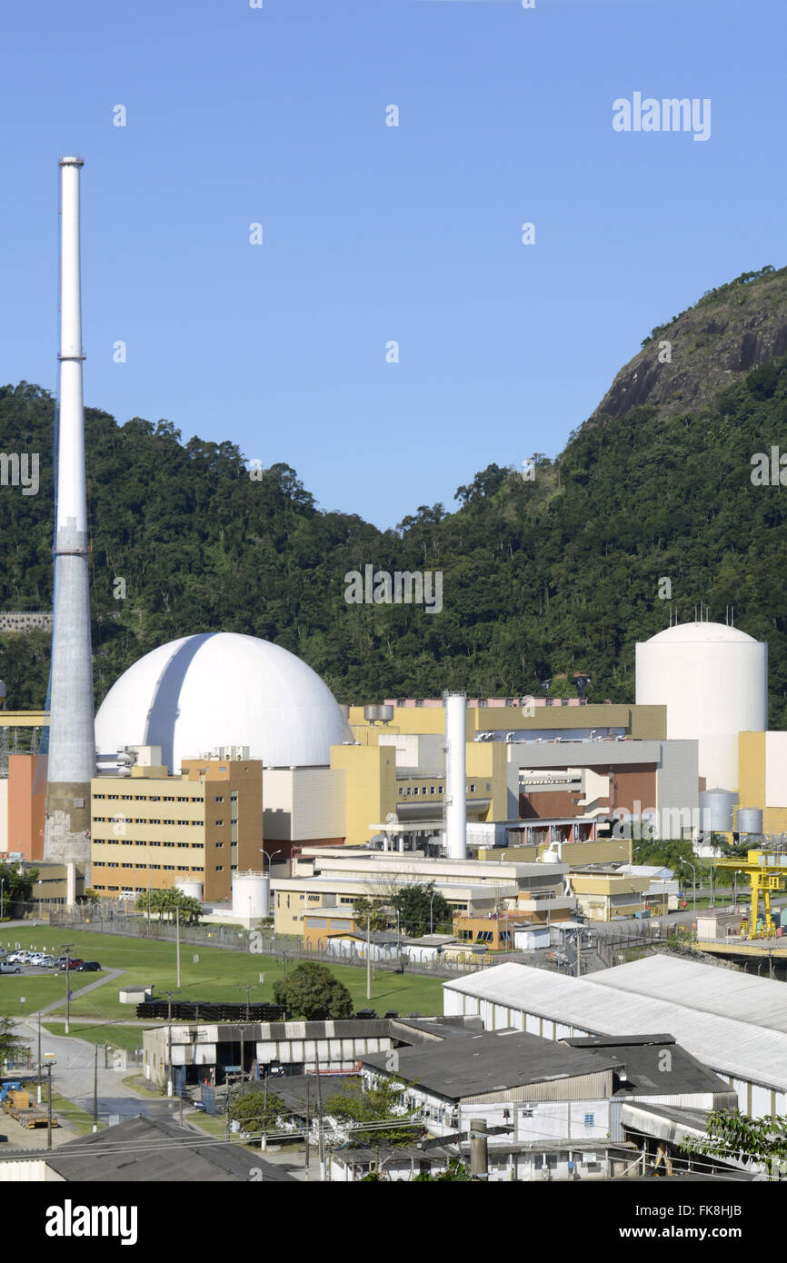Nuclear power plant Angra dos Reis - Angra II left and right Angra I - Stock Image
