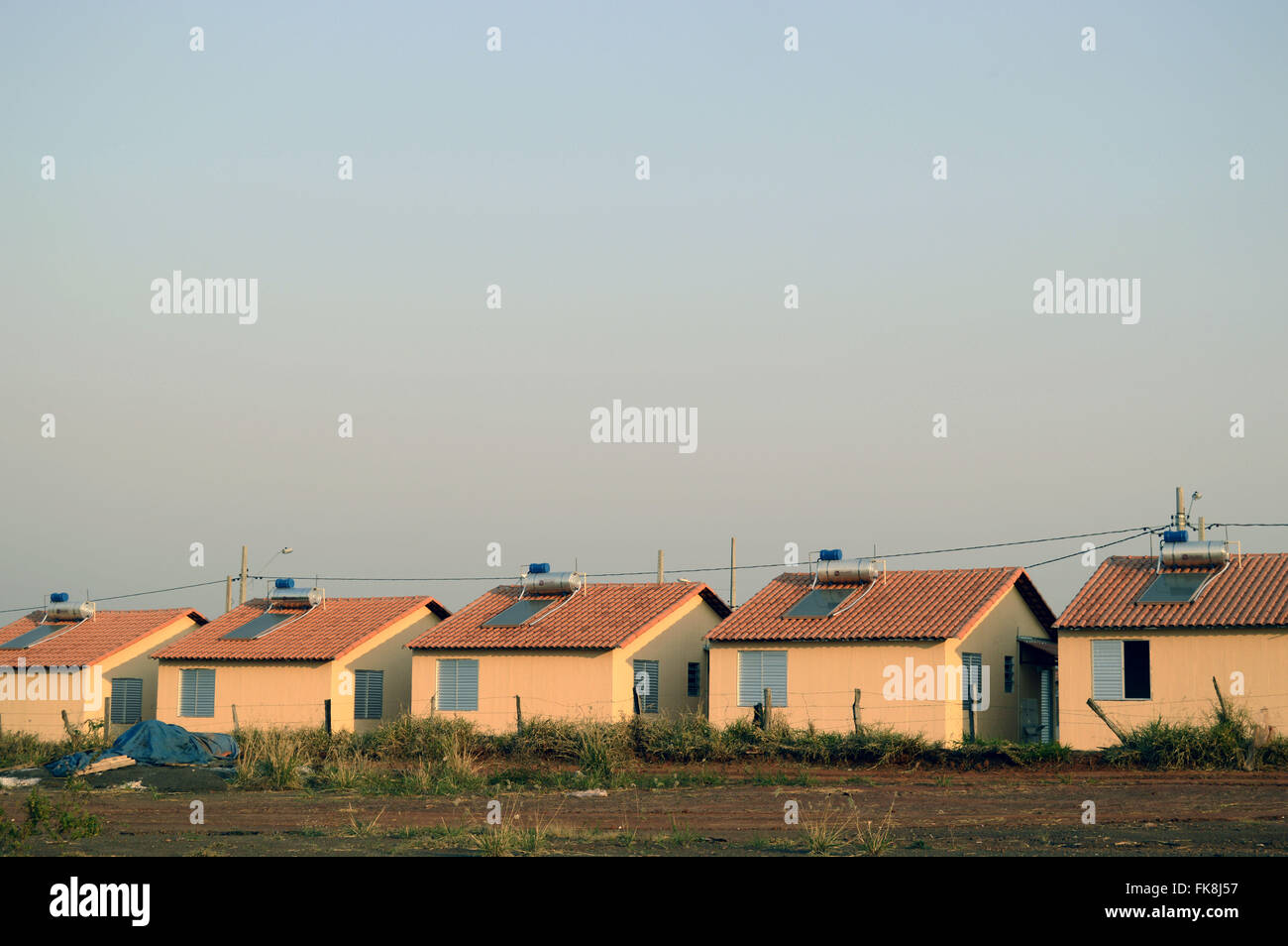 Housing affordable housing with solar heating - Stock Image