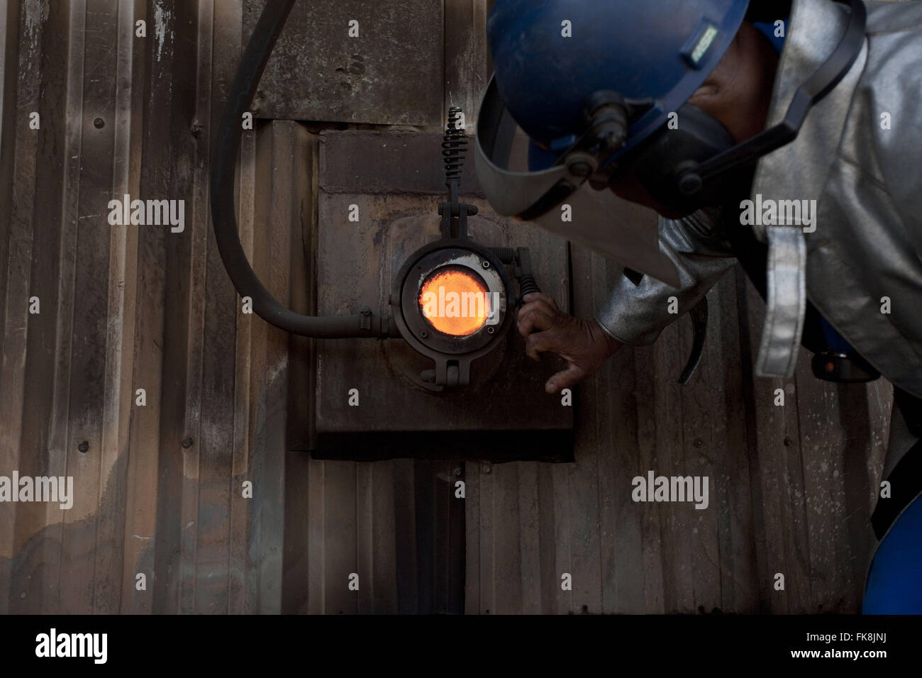 Furnace of a power cogeneration plant in cooperative - Stock Image