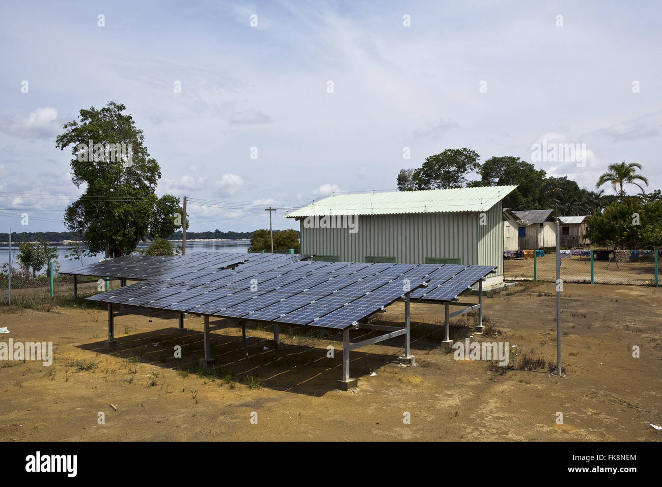 Mini plant photovoltaic - PV modules with generators blocks - community of Aracari - Stock Image