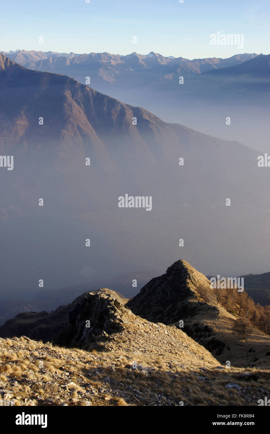 View from Monte Berlinghera, valleys of Mera and Adda,  December without snow, near Gera Lario on Lake Como, Italy Stock Photo