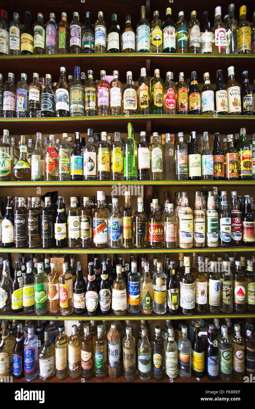 Cachaca and varied types of brands selling Parati Store - Stock Image