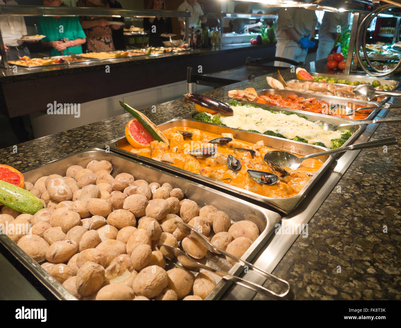 Dinner Or Lunch Buffet Table In An All Inclusive Hotel Resort In