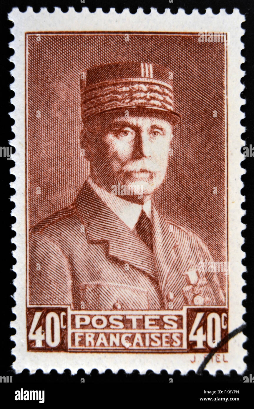 FRANCE - CIRCA 1941: A stamp printed in France shows Marshal Petain, circa 1941 - Stock Image