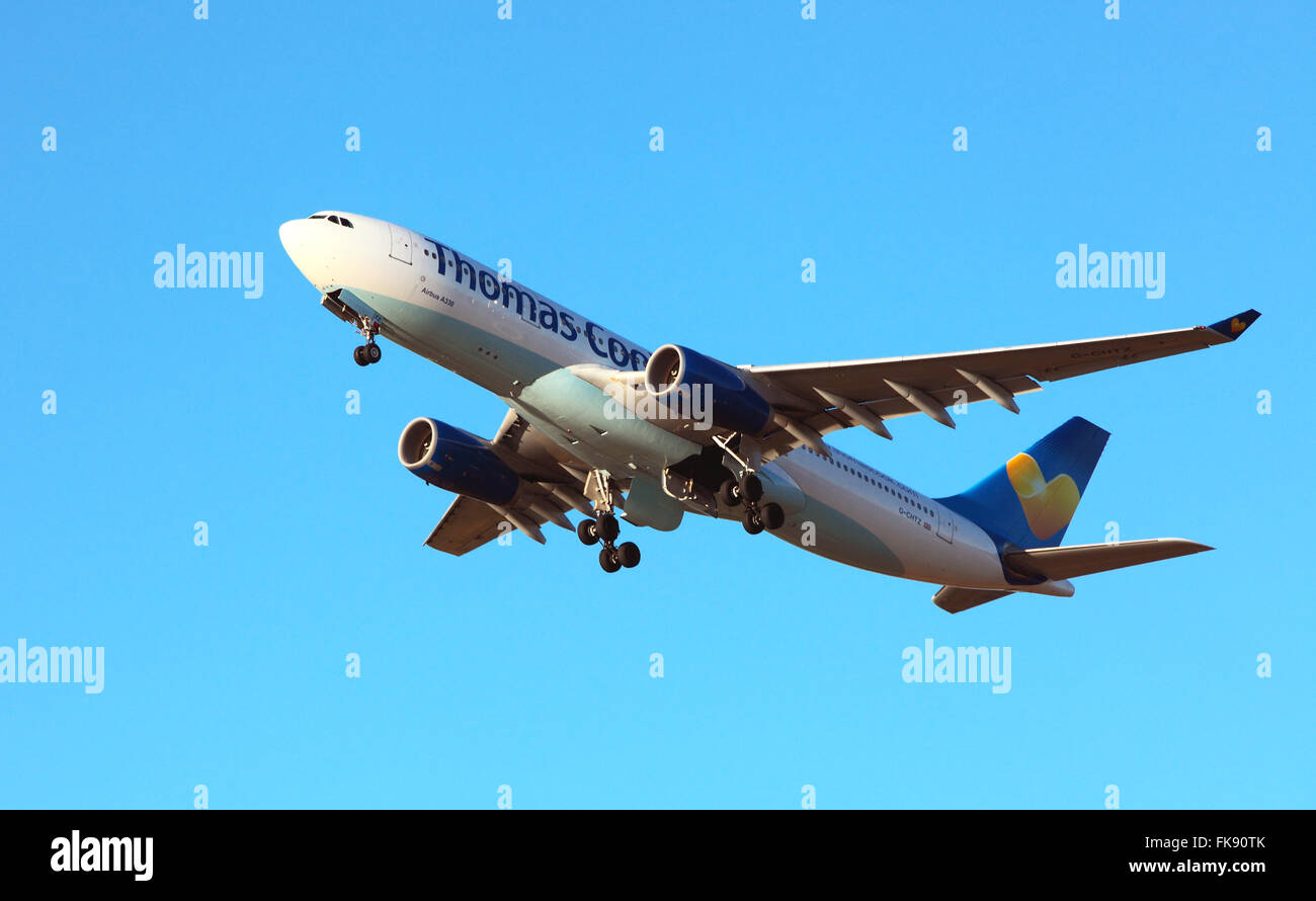 Thomas Cook,Air Bus A330 takes of fron Edinburgh Airport - Stock Image