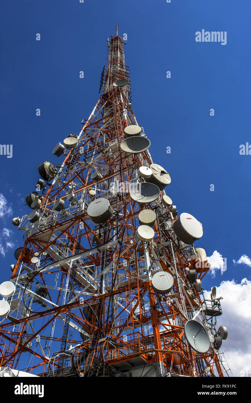 Telecommunication antenna at Pico do Jaragua State Park Jaragua - Stock Image
